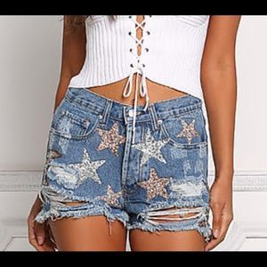 Pants - NWT sequin jean shorts